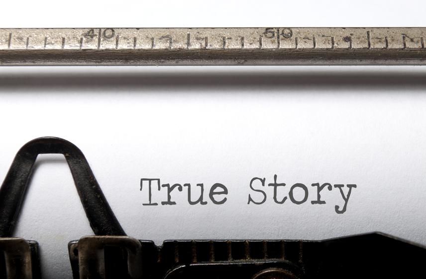 True story printed on a vintage typewriter