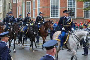 The Hague, Netherlands - September 15, 2015: mounted brigade of the Royal Netherlands Marechaussee on Lange Voorhout during Prinsjesdag, the day on which King Willem-Alexander addresses a joint session of the Dutch Senate and House of Representatives in the Knights' Hall. The Speech from the Throne sets out the main features of government policy for the coming parliamentary session.